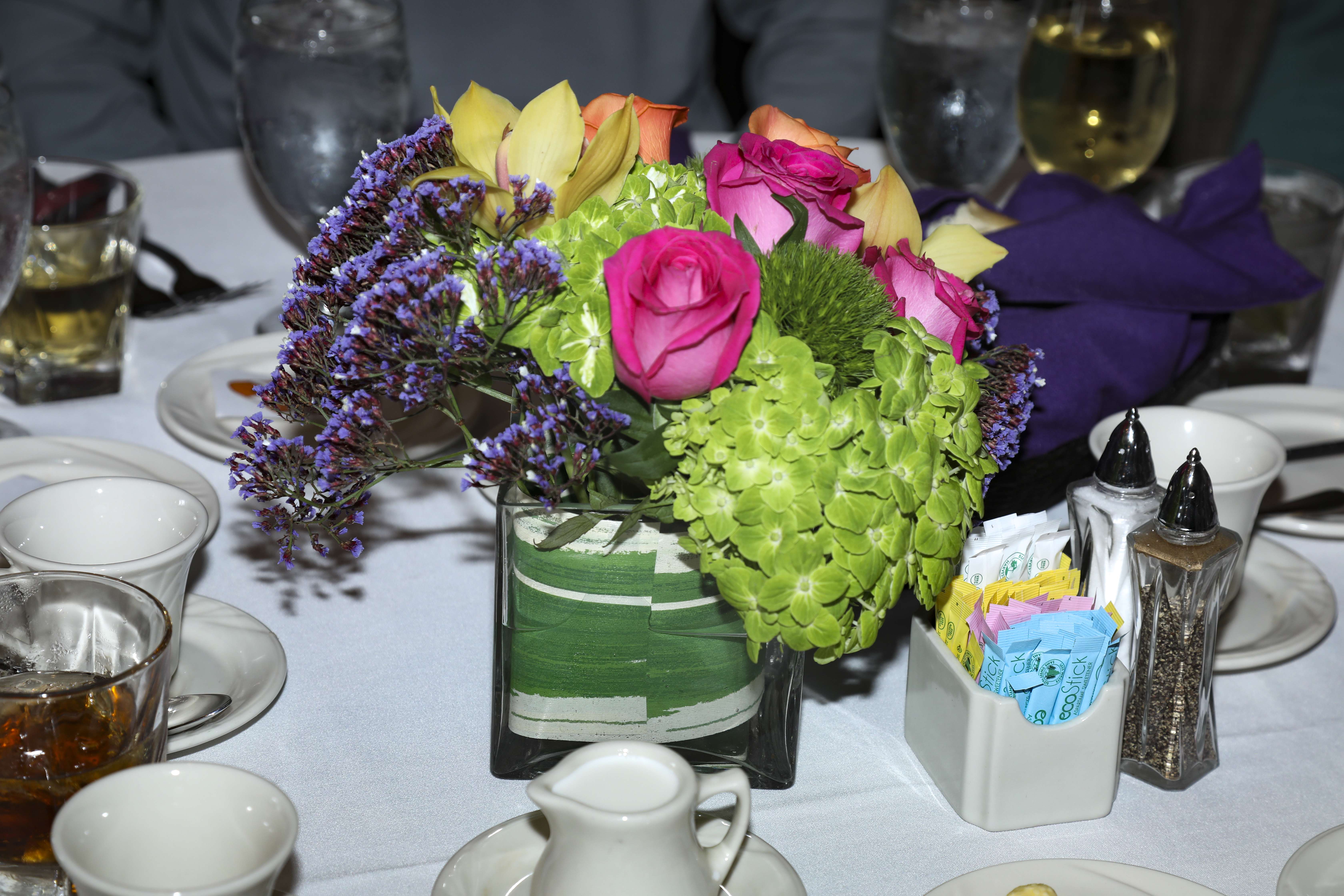 banquet room table flowers
