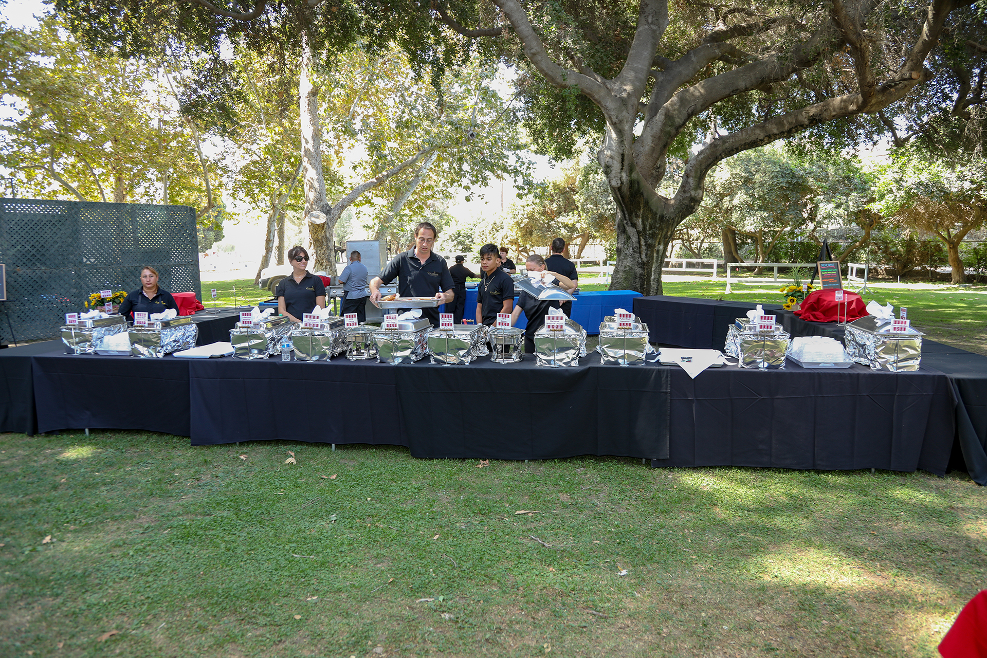 Buffet line by 'Calamigos' Catering